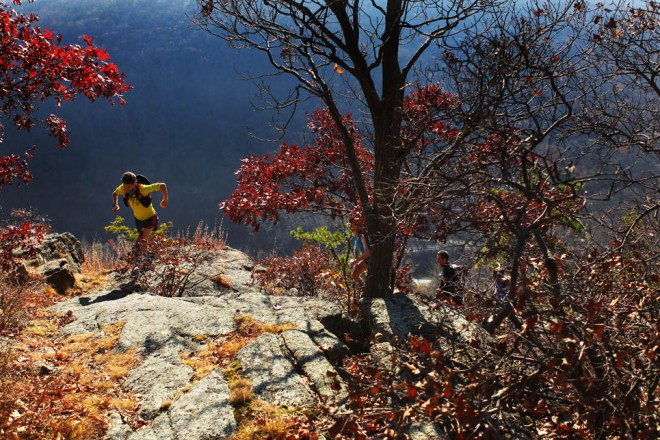 An endurance runner reaches the top of the rugged Pyngyp in Harriman State Park during the first Irishman's Suffern to Bear Mountain Run.